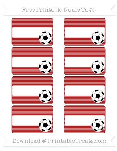 Free Fire Brick Red Horizontal Striped Soccer Name Tags