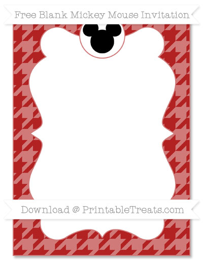 Free Fire Brick Red Houndstooth Pattern Blank Mickey Mouse Invitation