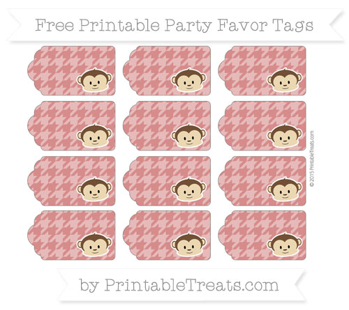 Free Fire Brick Red Houndstooth Pattern Boy Monkey Party Favor Tags