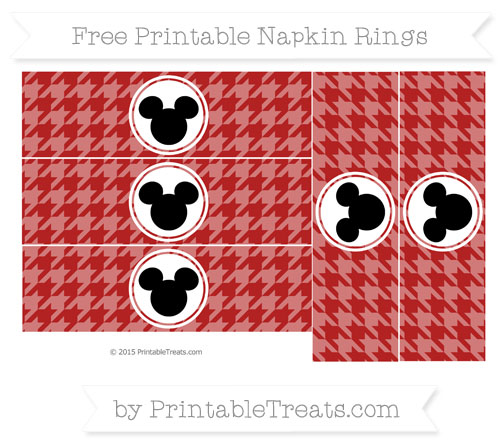Free Fire Brick Red Herringbone Pattern Mickey Mouse Napkin Rings