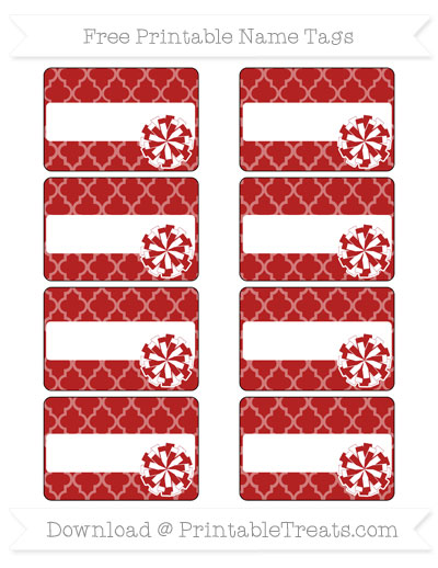 Free Fire Brick Red Moroccan Tile Cheer Pom Pom Tags