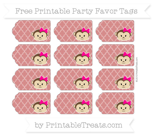 Free Fire Brick Red Moroccan Tile Girl Monkey Party Favor Tags