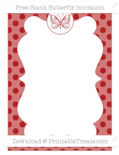 Free Fire Brick Red Polka Dot Blank Butterfly Invitation