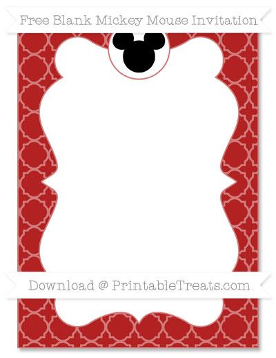 Free Fire Brick Red Quatrefoil Pattern Blank Mickey Mouse Invitation