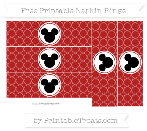 Free Fire Brick Red Quatrefoil Pattern Mickey Mouse Napkin Rings