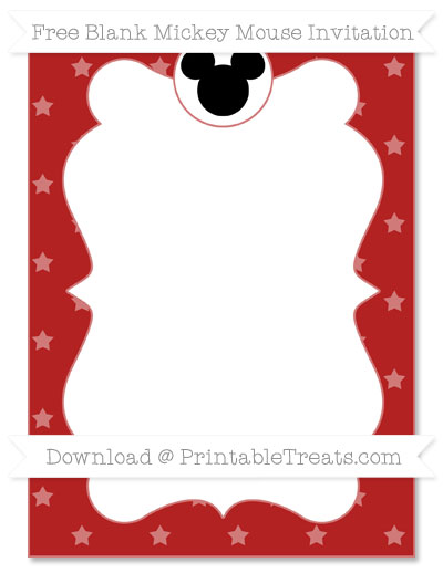 Free Fire Brick Red Star Pattern Blank Mickey Mouse Invitation