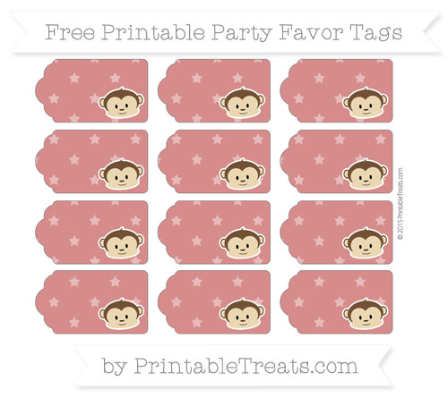 Free Fire Brick Red Star Pattern Boy Monkey Party Favor Tags