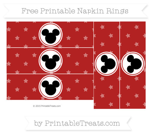Free Fire Brick Red Star Pattern Mickey Mouse Napkin Rings