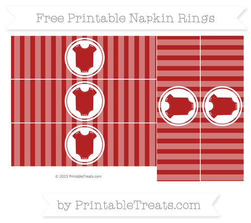 Free Fire Brick Red Striped Baby Onesie Napkin Rings