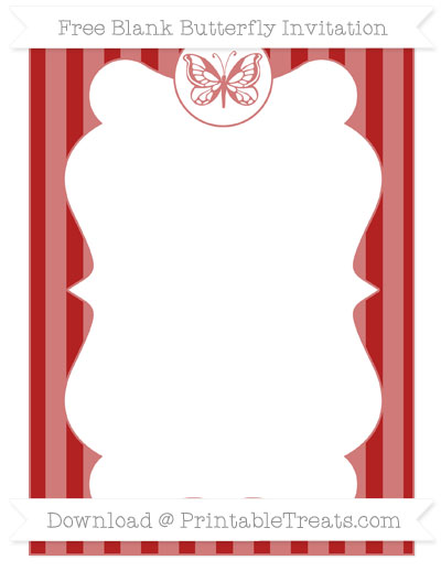 Free Fire Brick Red Striped Blank Butterfly Invitation