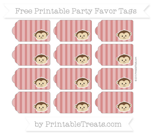 Free Fire Brick Red Striped Boy Monkey Party Favor Tags