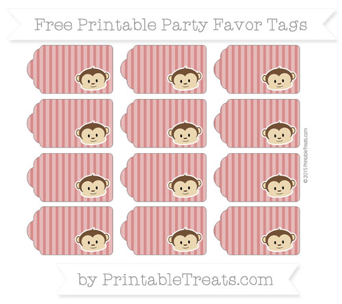 Free Fire Brick Red Thin Striped Pattern Boy Monkey Party Favor Tags