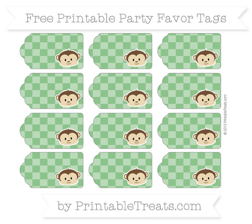 Free Forest Green Checker Pattern Boy Monkey Party Favor Tags