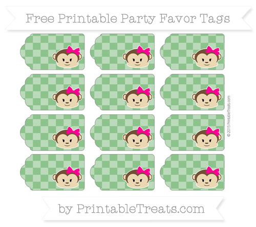 Free Forest Green Checker Pattern Girl Monkey Party Favor Tags