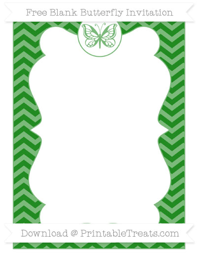 Free Forest Green Chevron Blank Butterfly Invitation