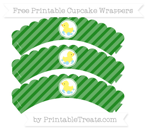 Free Forest Green Diagonal Striped Baby Duck Scalloped Cupcake Wrappers