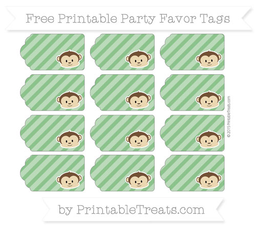 Free Forest Green Diagonal Striped Boy Monkey Party Favor Tags