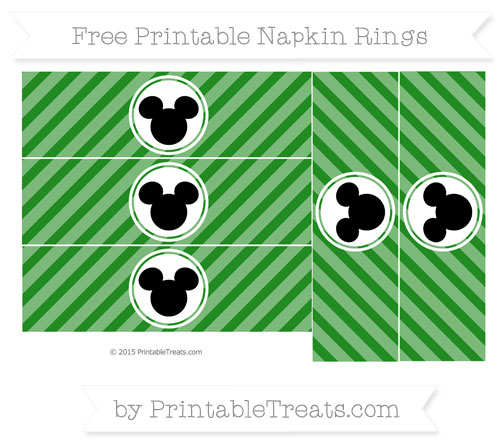 Free Forest Green Diagonal Striped Mickey Mouse Napkin Rings