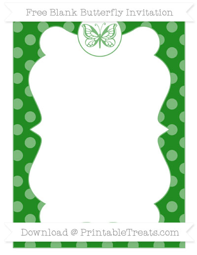 Free Forest Green Dotted Pattern Blank Butterfly Invitation