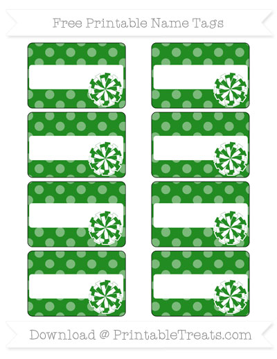 Free Forest Green Dotted Pattern Cheer Pom Pom Tags
