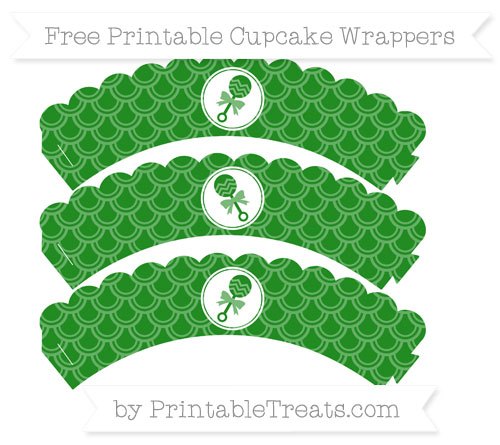 Free Forest Green Fish Scale Pattern Baby Rattle Scalloped Cupcake Wrappers