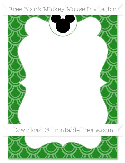 Free Forest Green Fish Scale Pattern Blank Mickey Mouse Invitation