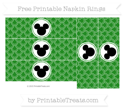 Free Forest Green Fish Scale Pattern Mickey Mouse Napkin Rings