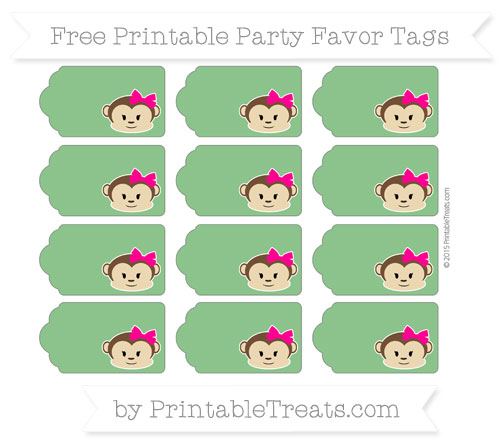 Free Forest Green Girl Monkey Party Favor Tags