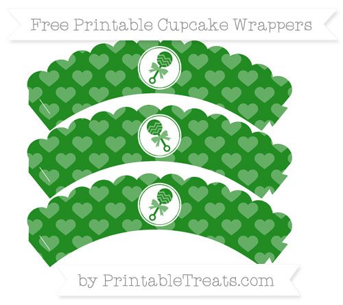 Free Forest Green Heart Pattern Baby Rattle Scalloped Cupcake Wrappers