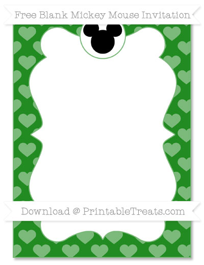 Free Forest Green Heart Pattern Blank Mickey Mouse Invitation