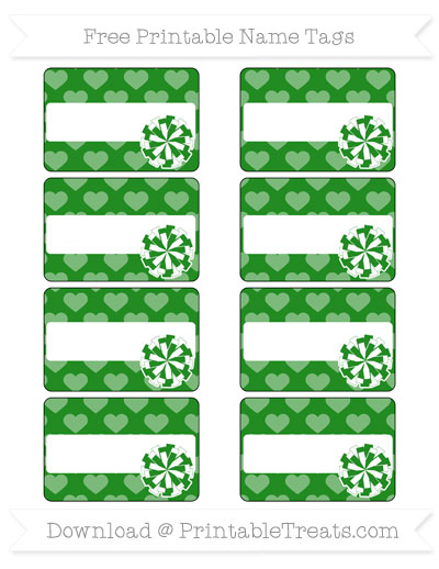 Free Forest Green Heart Pattern Cheer Pom Pom Tags