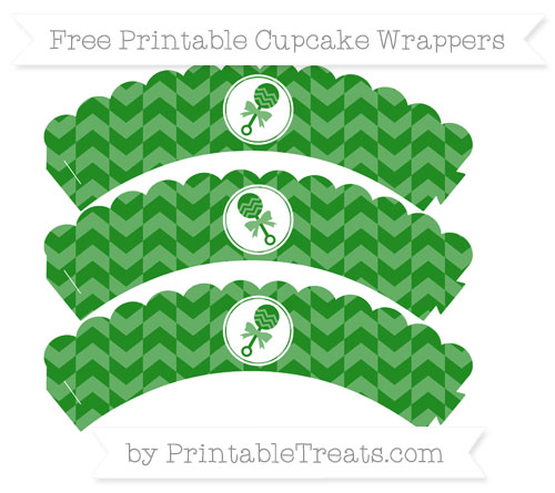 Free Forest Green Herringbone Pattern Baby Rattle Scalloped Cupcake Wrappers