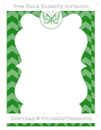 Free Forest Green Herringbone Pattern Blank Butterfly Invitation