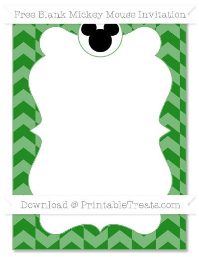 Free Forest Green Herringbone Pattern Blank Mickey Mouse Invitation