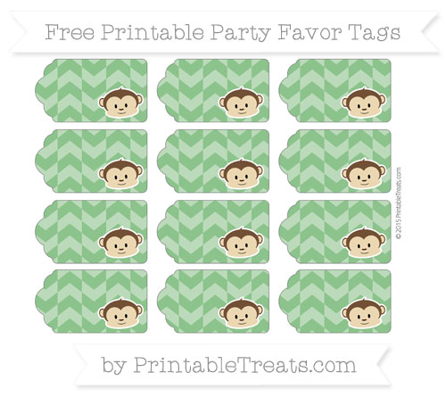 Free Forest Green Herringbone Pattern Boy Monkey Party Favor Tags