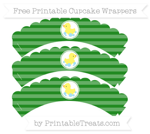 Free Forest Green Horizontal Striped Baby Duck Scalloped Cupcake Wrappers