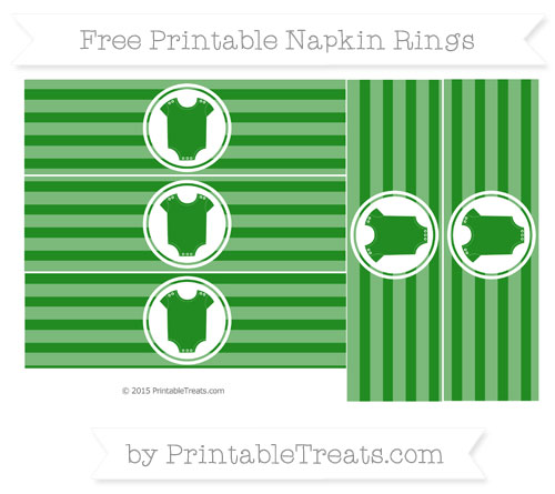 Free Forest Green Horizontal Striped Baby Onesie Napkin Rings