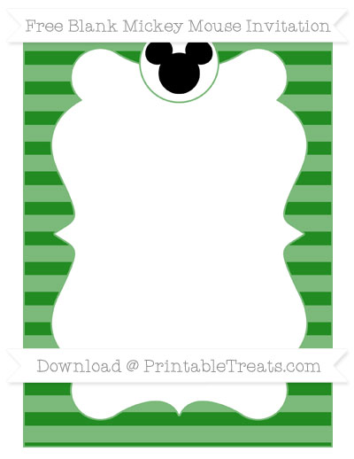 Free Forest Green Horizontal Striped Blank Mickey Mouse Invitation