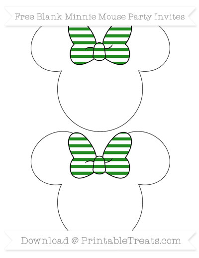 Free Forest Green Horizontal Striped Blank Minnie Mouse Party Invites