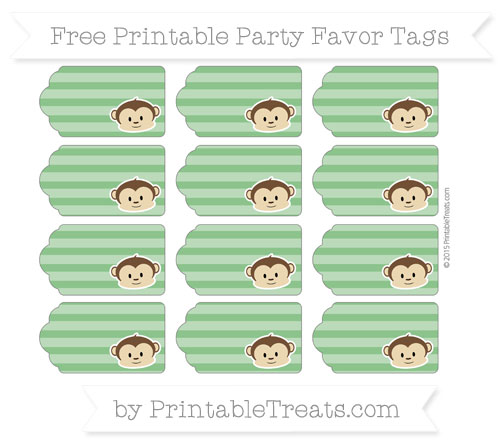 Free Forest Green Horizontal Striped Boy Monkey Party Favor Tags