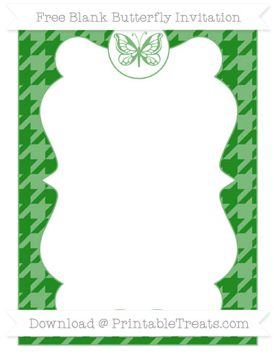 Free Forest Green Houndstooth Pattern Blank Butterfly Invitation