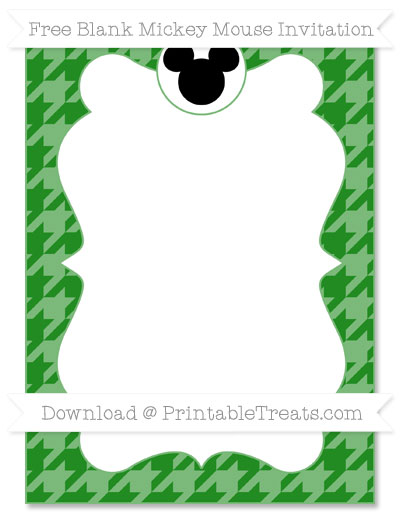 Free Forest Green Houndstooth Pattern Blank Mickey Mouse Invitation
