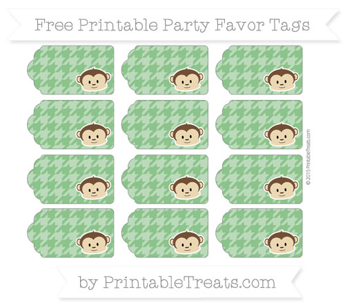Free Forest Green Houndstooth Pattern Boy Monkey Party Favor Tags