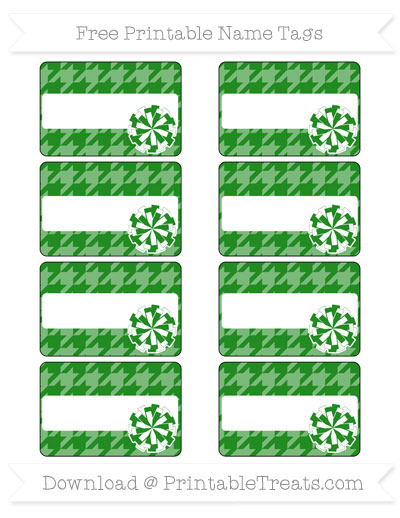 Free Forest Green Houndstooth Pattern Cheer Pom Pom Tags
