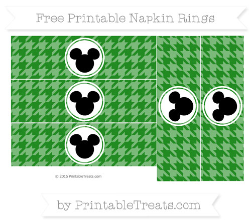 Free Forest Green Herringbone Pattern Mickey Mouse Napkin Rings