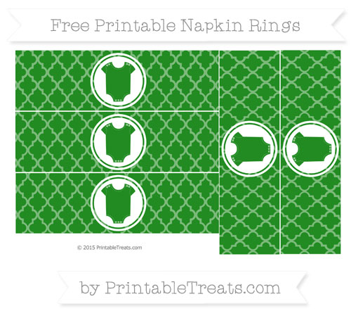 Free Forest Green Moroccan Tile Baby Onesie Napkin Rings