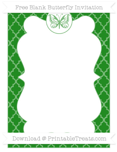 Free Forest Green Moroccan Tile Blank Butterfly Invitation