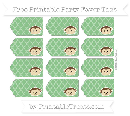 Free Forest Green Moroccan Tile Boy Monkey Party Favor Tags