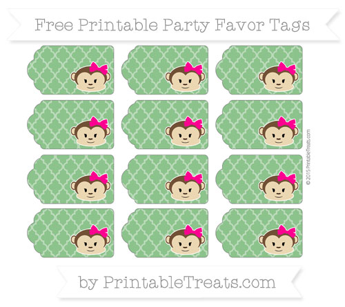 Free Forest Green Moroccan Tile Girl Monkey Party Favor Tags