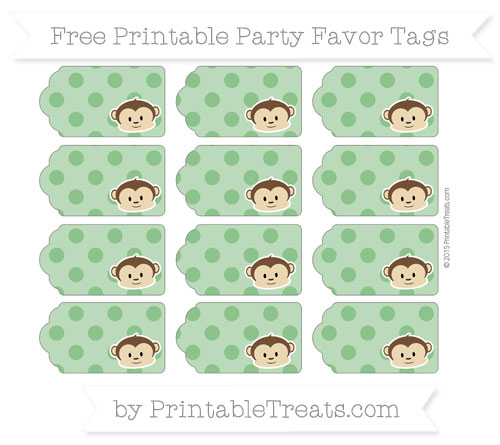 Free Forest Green Polka Dot Boy Monkey Party Favor Tags